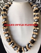 Hawaiian Kukui Nut Lei Necklace with Cowrie Shells-Silver-White