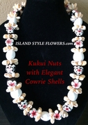 Hawaiian Kukui Nut Lei Necklace with Cowrie Shells-White