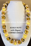 Hawaiian Kukui Nut Lei Necklace with Cowrie Shells- Yellow