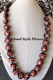 Hawaiian Kukui Nut Lei Necklace-Hand-Painted-Purple Turtle w/ Orange Hibiscus Flower