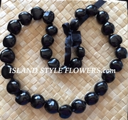HAWAIIAN KUKUI NUT LEI NECKLACE- Black