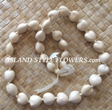 HAWAIIAN KUKUI NUT LEI NECKLACE- Natural-Beige/Brown
