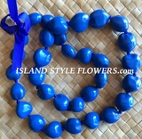 Hawaiian Kukui Nut Lei- Solid Blue