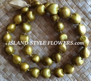 Hawaiian Kukui Nut Lei- Solid Gold