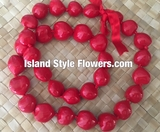 Hawaiian Kukui Nut Lei- Solid Red