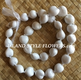 Hawaiian Kukui Nut Lei- Solid White