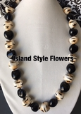 Hawaiian Kukui Nut Lei- Tiger/Cheetah Print with Solid Black