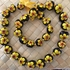 Hawaiian Kukui Nut Lei-Yellow w/ Red Center Hibiscus Flowers-B
