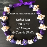 "Hawaiian Kukui Nut Shell 18"" Choker Necklace -Purple"