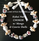 "Hawaiian Kukui Nut Shell 18"" Choker Necklace -White"