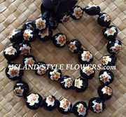 HAWAIIAN KUKUI NUT TURTLE LEI NECKLACE-Handpainted-White Turtle w/ Gold Hibiscus Flower