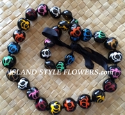 HAWAIIAN KUKUI NUT TURTLE LEI NECKLACE-Handpainted-Multicolored