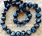 HAWAIIAN KUKUI NUT TURTLE LEI NECKLACE-Handpainted-Teal
