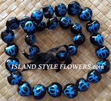 HAWAIIAN KUKUI NUT TURTLE LEI NECKLACE-Handpainted-Blue