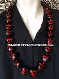 HAWAIIAN KUKUI NUT TURTLE LEI NECKLACE-Red Turtle