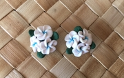 "Hawaiian Plumeria 3 Flower w/ Leaves Fimo Post Earring White Blue 0.5"" inches"
