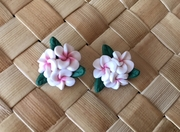 """Hawaiian Plumeria 3 Flower w/ Leaves Fimo Post Earring White Pink 0.5"""" inches"""