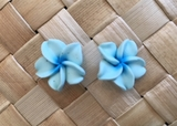 "Hawaiian Plumeria Flower Fimo  Post Earring BLUE 0.5"" inches"