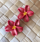 "Hawaiian Plumeria Flower Fimo Post Earring RED 1"" inch"