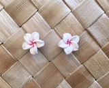 "Hawaiian Plumeria Flower Fimo  Post Earring WHITE 0.40"" inches or 1 cm"