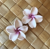 "Hawaiian Plumeria Flower Fimo Post Earring White with Pink Center 0.75 - 1"" inch"