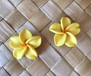 "Hawaiian Plumeria Flower Fimo Post Earring Yellow 0.75"" inches"