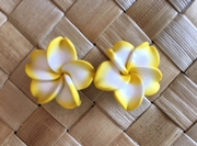 "Hawaiian Plumeria Flower Fimo Post Earring Yellow White  0.75"" inches"