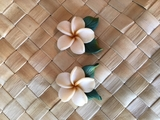 "Hawaiian Plumeria Flower w/ Leaves Fimo Post Earring CREAM WHITE 1"" inch"