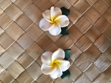 "Hawaiian Plumeria Flower w/ Leaves Fimo Post Earring WHITE 1"" inch"