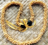 Hawaiian Yellow Mongo Shell Lei Necklace