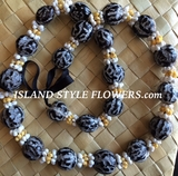 TIGER EYE Hawaiian Kukui Nut Lei Necklace w/ White/Yellow Colored Mongo Shells