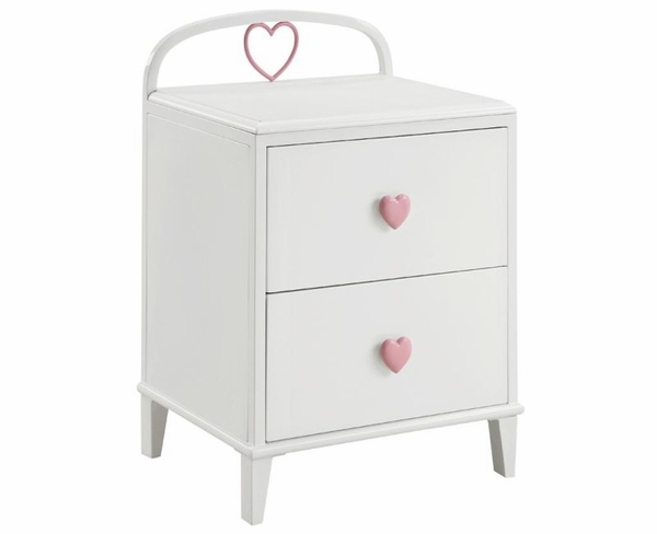 2 Drawer Nightstand with Heart Shaped Knobs