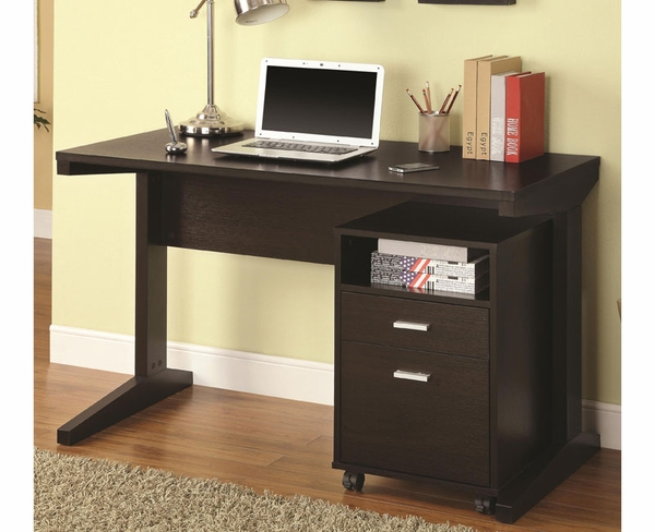 2-Piece Desk Set with Rolling File Cabinet
