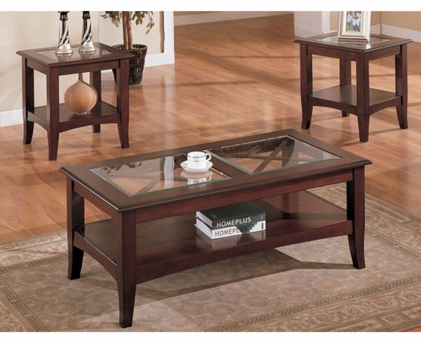 3-Pc Beveled Glass Coffee Table Set