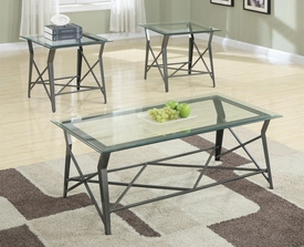 3-Pc Glass Top Coffee Table Set - DOOR BUSTER