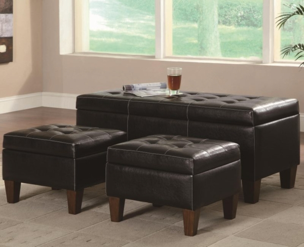 3 Piece Black Vinyl Bench & Ottoman Set