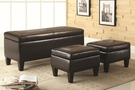 3 Piece Storage Bench and Ottoman