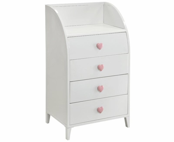4 Drawer Chest with Curved Edge Shelf