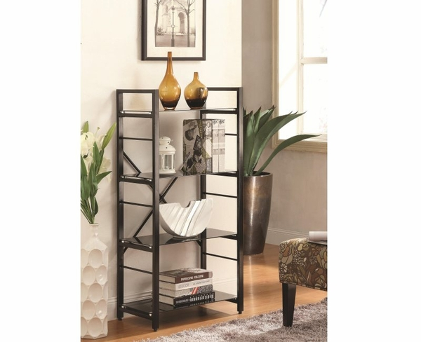 Black Powder Coated 4 Shelf Linear Metal Bookcase