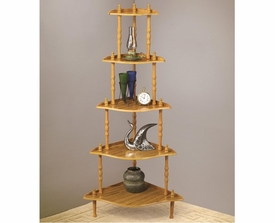 5 Tier Oak Corner Rack