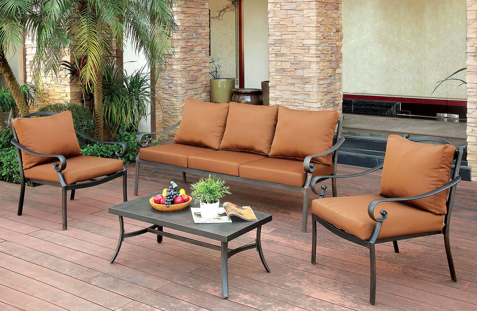 Abigail patio set by furniture of america cm os2501 for Designer sofas for less