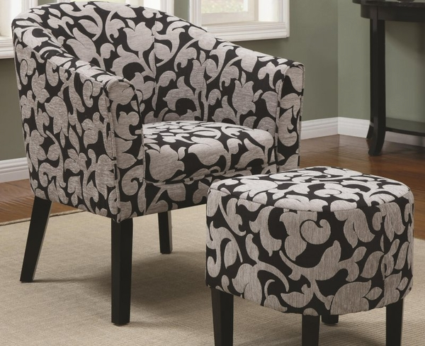 Accent Barrel Back Chair and Ottoman Set with White and Gray Floral Print