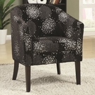 Accent Casual Barrel Back Accent Chair in Black and Silver Chenille
