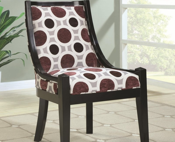 Accent Chair with Geometric Fabric and Black Wooden Border