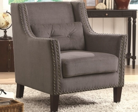 Accent Chair with Nailhead Trim and Accent Pillow