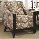Accent Chair with Slightly Leaned Back and Exposed Wood Accents