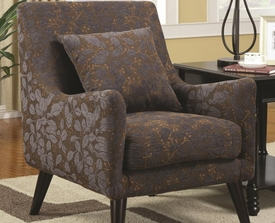 Accent Chair with Smooth Pulled Upholstery and Sleek Styled Legs