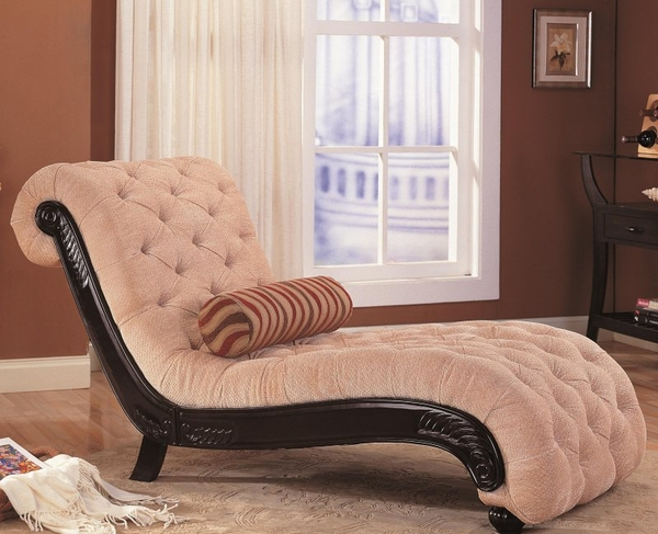 Accent Chaise with Button Tufting and Carved Wood Trim
