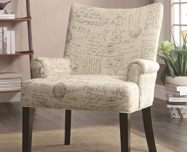 Accent French Script Pattern  Chair