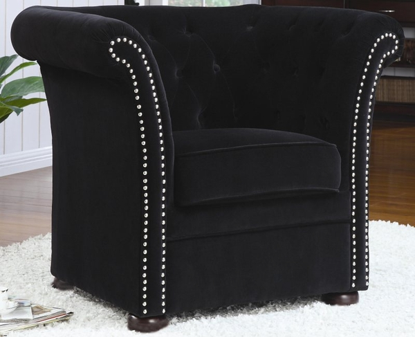 Accent High-Back Chair with Round Wood Feet
